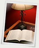 bible and lamp